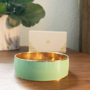 J. Crew mint and gold tone bangle bracelet